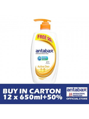 Antabax Anti-Bacterial Shower Gel - Active Deo 12 x (650ml + 50%)