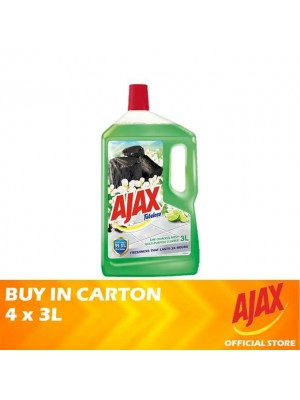 Ajax Fabuloso Lime Charcoal Fresh Multi Purpose Floor Cleaner 4 x 3L