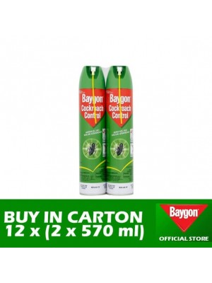 Baygon Cockroach Control Aerosol 12 x (Twin-Pack 2 x 570ml)
