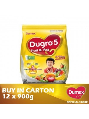 Dumex Dugro 5 Fruit & Veg Milk Powder 6+ Tahun 12 x 900g