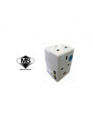 Eurosafe ES-940N (13A) 3way Adaptor CW Neon