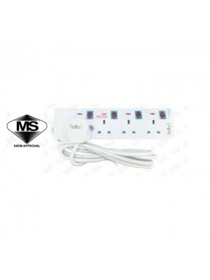 Eurosonic 13A Sirim Plug & Sirim Trailing Socket Surge Protector & Copper Cable 9844 (4way 2meter)