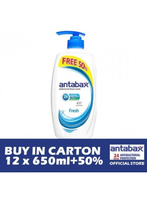 Antabax Anti-Bacterial Shower Gel - Fresh 12 x (650ml + 50%)