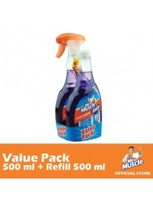 Mr. Muscle Glass Cleaner Lavender (Value-Pack 500ml + Refill 500ml) [MUST BUY]