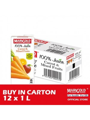 Marigold 100% Juice Carrot & Mixed Fruits 12 x 1L [Essential]