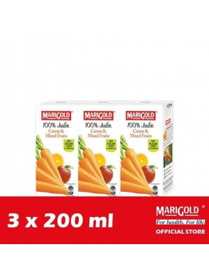 Marigold 100% Juice Carrot & Mixed Fruits 3 x 200ml