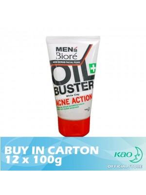 Men's Biore Non Scrub Facial Foam Oil Buster Acne Action 12 x 100g