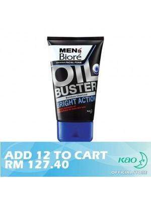 Men's Biore Non Scrub Facial Foam Oil Buster Bright Action 12 x 100g