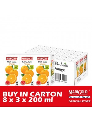 Marigold 100% Juice Orange 8 x 3 x 200ml