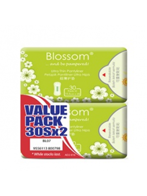 Blossom Pantyliner Ultra Thin -Cottony Surface 2x30's (Value Pack)