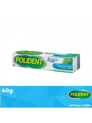 Polident Denture Adhesive Full & Partial False Teeth Fixative - Flavour Free 60g