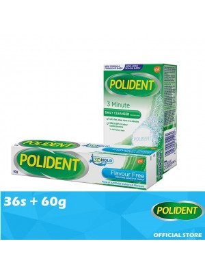 Polident Denture & Retainer Cleaning Tabs 36s + False Teeth Fixate - Flavour Free 60g [Value Set]