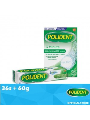 Polident Denture & Retainer Cleaning Tabs 36s + False Teeth Fixate - Mint 60g [Value Set]
