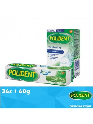 Polident Denture & Retainer Whitening Cleanser 36s + False Teeth Fixative - Mint 60g [Value Set]