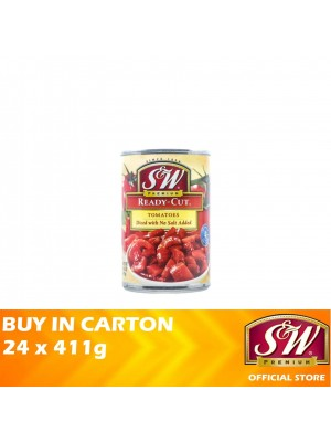 S&W Ready-Cut Tomatoes Diced with No Salt Added 24 x 411g