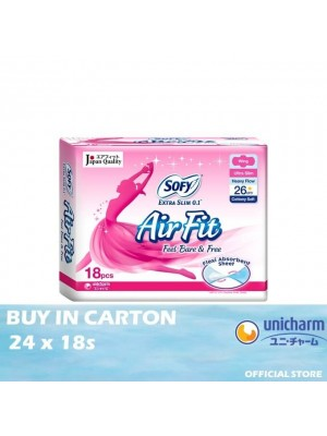 Sofy Air Fit Extra Slim 0.1 Day Wing 26cm 24 x 18s