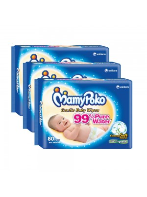 MamyPoko Baby Wipes Cottony Soft 3 x 80 Sheets (Non Fragrance)