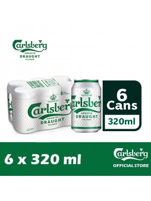 2D. Carlsberg Smooth Draught Beer Can 6 x 320ml