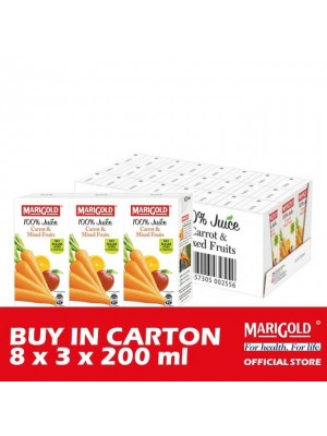 Marigold 100% Juice Carrot & Mixed Fruits 8 x 3 x 200ml