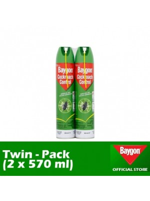 Baygon Cockroach Control Aerosol (Twin-Pack 2 x 570ml)