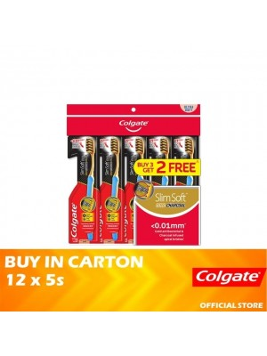 Colgate SlimSoft Charcoal Gold Toothbrush Ultra Soft Valuepack 12 x 5s