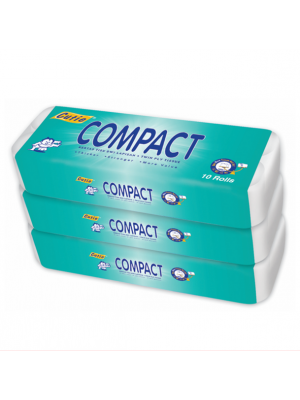 Cutie Compact Twin Ply Tissue Toilet Roll 3 x 10'r