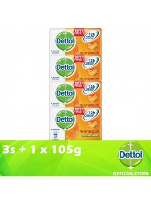Dettol Body Soap Re-Energize 3+1 x 105g