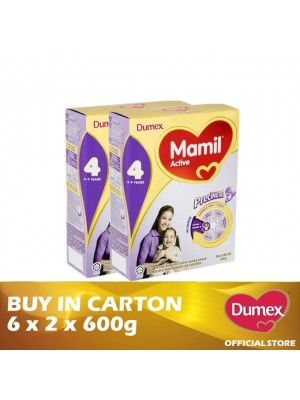 Dumex Mamil Active 4 Milk Powder 4 - 9 Tahun Twin Pack 6 x 2 x 600g