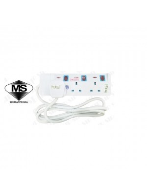 Eurosonic 13A Sirim Plug & Sirim Trailing Socket Surge Protector & Copper Cable 9833 (3way 2meter)