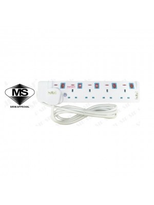 Eurosonic 13A Sirim Plug & Sirim Trailing Socket Surge Protector & Copper Cable 9855 (5way 2meter)