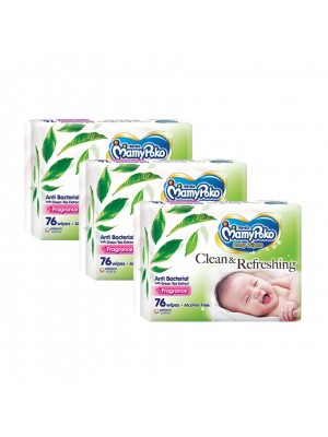 MamyPoko Baby Wipes Anti Bacterial 3 x 76 Sheets ( Fragrance)