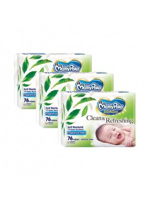 MamyPoko Baby Wipes Anti Bacterial 3 x 76 Sheets ( Non Fragrance)