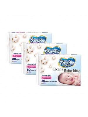 MamyPoko Baby Wipes Cottony Soft 3 x 80 Sheets (Fragrance)