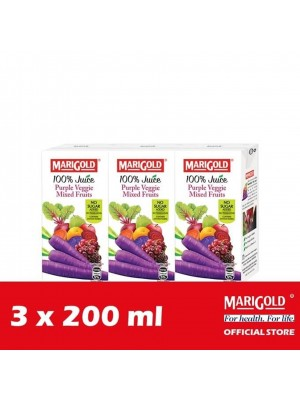 Marigold 100% Juice Purple Veggie Mixed Fruits 3 x 200ml