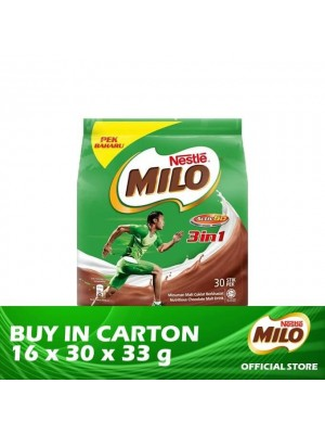 Nestle Milo Activ-Go 3 in 1 Mixes Chocolate Malt Drink Stick Pack 16 x 30 x 33g
