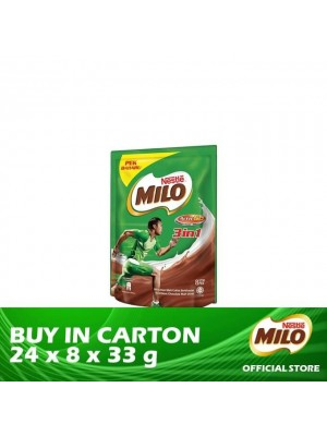Nestle Milo Activ-Go 3 in 1 Mixes Chocolate Malt Drink Stick Pack 24 x 8 x 33g