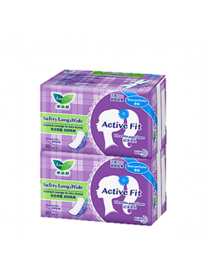 Laurier Pantyliner Active Fit - Safety Long & Wide Non-Perfume (2x40s)