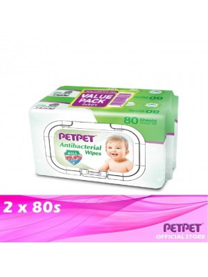 PetPet Antibacterial Wipes Twin Pack 2 x 80s