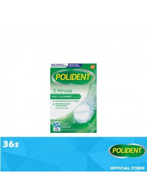 Polident Denture & Retainer Cleaning Tablets - 3 Minute Daily Cleanser 36s