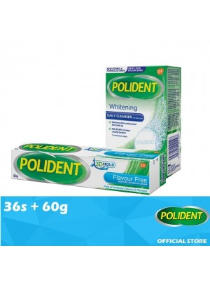 Polident Denture & Retainer Whitening Cleanser 36s + False Teeth Fixative- Flavour Free 60g [Value Set]