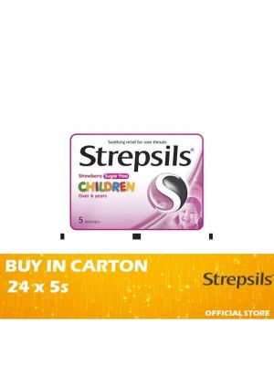 Strepsils Children 6+ Strawberry Sugar Free 24 x 5's