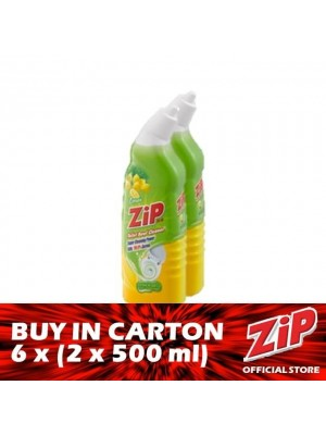 Zip Toilet Bowl Cleaner - Lemon 6 x (Twin-Pack 2 x 500ml)